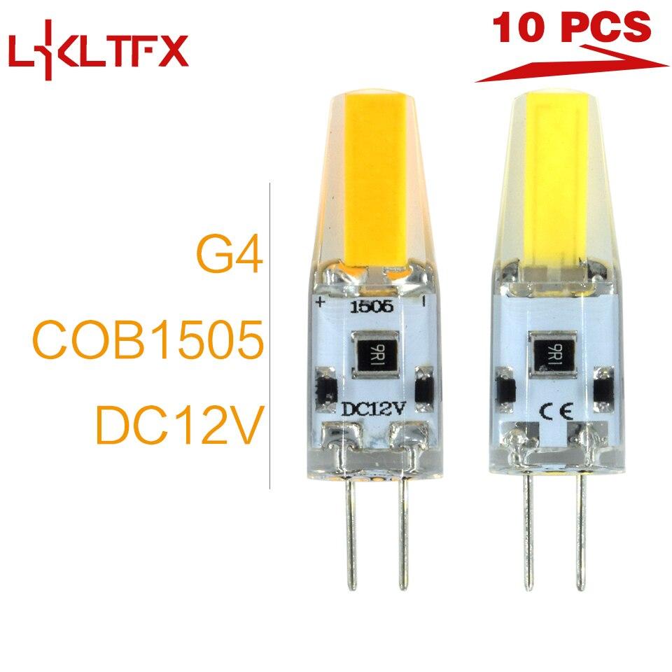 LKLTFX 10pcs G4 LED Lamp G4 COB 1505 LED Bulb 12V DC Mini G4 LED Light 360 Beam Angle Replace Halogen Lamp Chandelier Lights