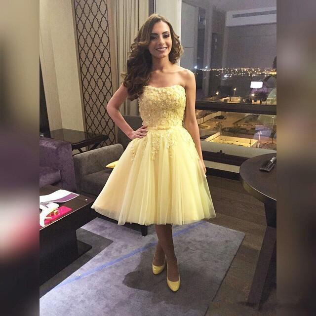 Yellow Knee Length Short Prom Dresses For Teens Strapless Tulle With ...
