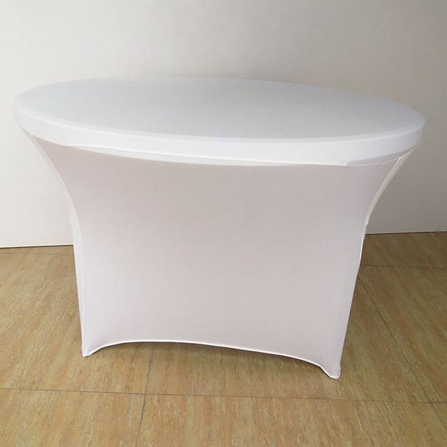 30 5 Table Extensible Ronde Couvre Table Couverture Tissu Pour Salle A Manger Fete De Mariage Evenement Decor Blanc Table Couverture Ronde