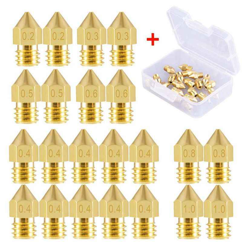 22 Pieces 3D Printer Nozzles MK8 Nozzle 0.2mm, 0.3mm, 0.4mm, 0.5mm, 0.6mm, 0.8mm, 1.0mm Extruder Print Head with Free Storage