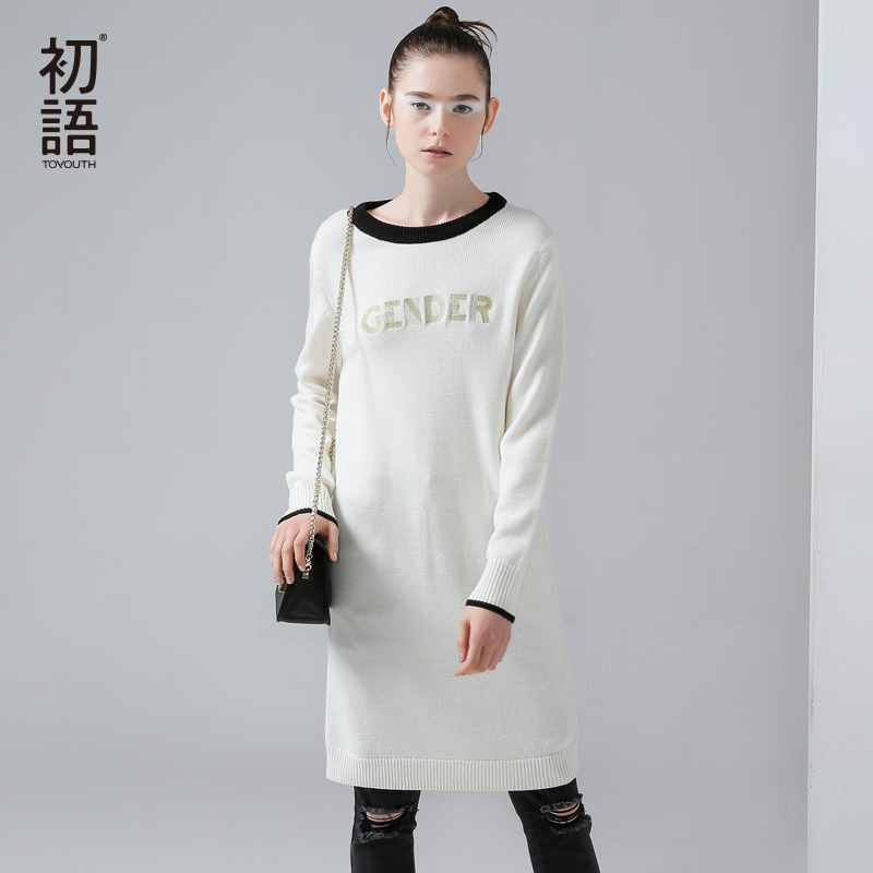 Toyouth 2017 New Arrival Women Acrylic Casual Dresses Autumn Letter Embroidery Knitting O Neck Dresses