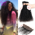 Ear To Ear Lace Frontal Closure With Bundles Curly 4Bundles Unprocessed Peruvian Kinky Curly Hair With 13x4 Lace Frontal Closure