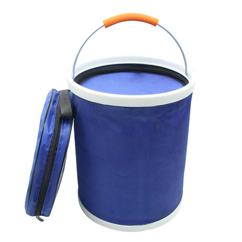 13L thick folding canvas bucket fishing cleaning car wash bucket with zipper bag R-13L03