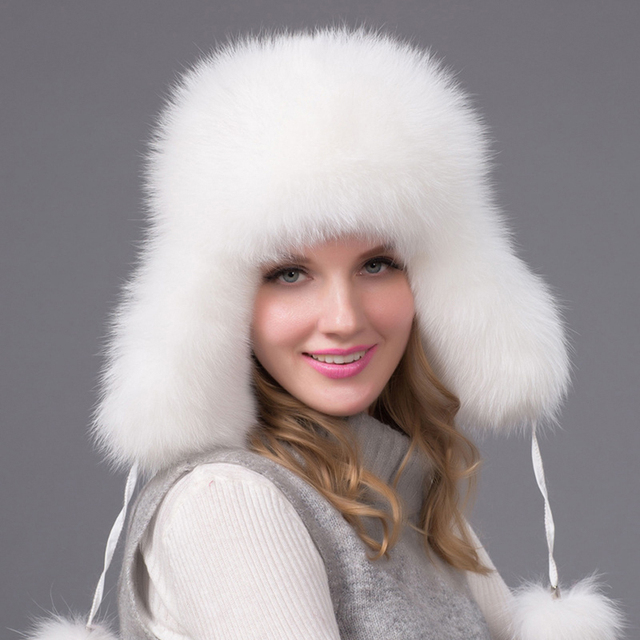 70c9110aed7 2017 best quality fox fur winter hat warm hats with ears fur pompom women  caps bomber hats warm free shipping