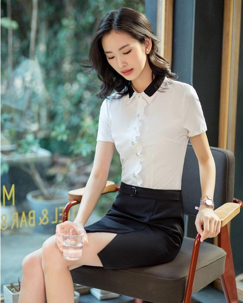 a2a8a8c0f2a2a7 Travail Femmes D'affaires Chemises Pu Blanc À Dames Et blanc ...