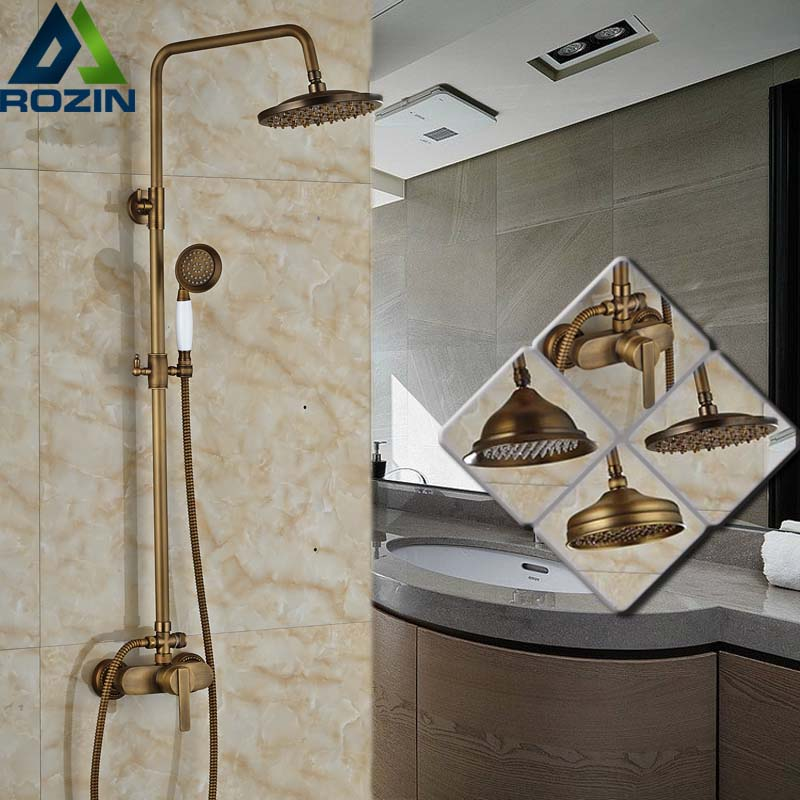 Wall Mounted Single Lever Bathroom Rain Shower Set Antique Brass Exposed Shower Mixers with Handshower