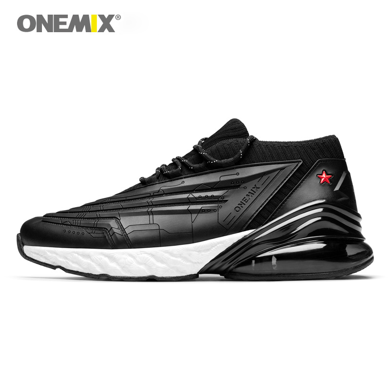 ONEMIX men sneakers women running shoes leather upper shock absorption cushion soft energy drop midsole outdoor jogging shoes in Running Shoes from Sports Entertainment