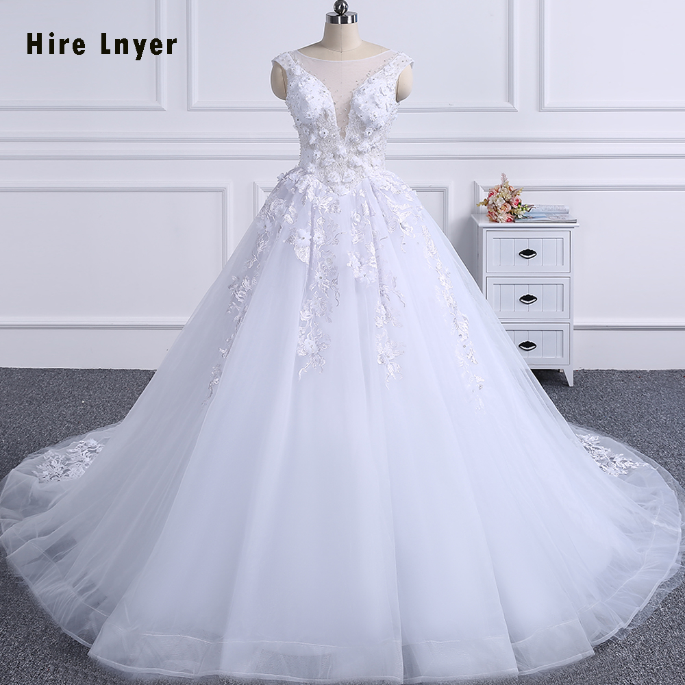 HIRE LNYER Real Picture Open Back Lace Up Beading Crystal Appliques Flowers Illusion Princess Ball Gown Wedding Dresses 2019