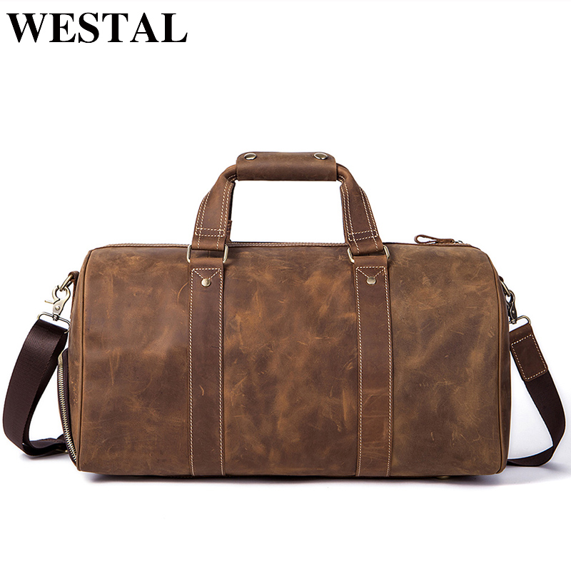 WESTAL Crazy Horse Leather Duffle Bags Vintage Weekend Bag Carry on Luggage Men Computer Laptop Handbag
