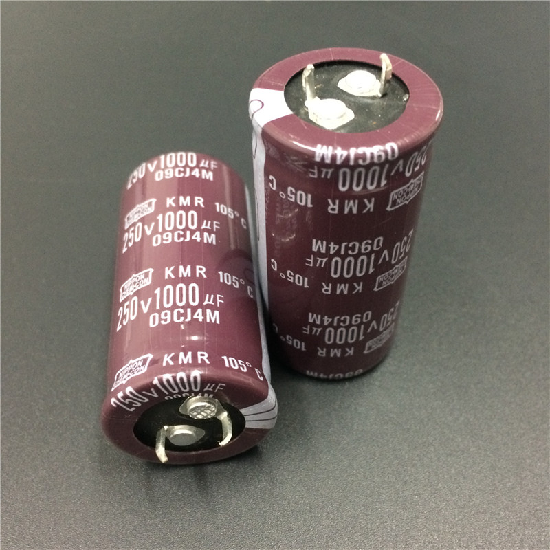 2pcs 1000uF 250V NIPPON NCC KMR Series 25x50mm Downsized 250V1000uF Snap-in PSU Aluminum Electrolytic Capacitor