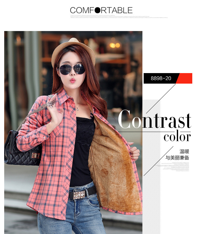 19 Brand New Winter Warm Women Velvet Thicker Jacket Plaid Shirt Style Coat Female College Style Casual Jacket Outerwear 40