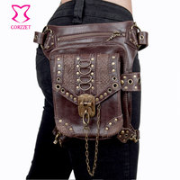 Vintage Brown PU Leather Unisex Steampunk Bag Gothic Rock Leg Holster Waist Bag Shoulder Bags Corsets Outfits Accessories