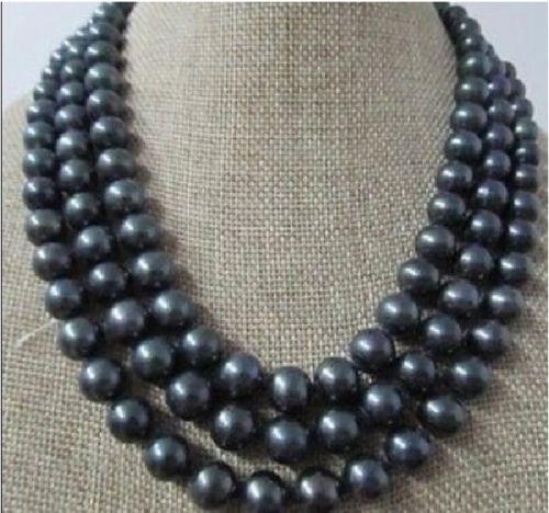 Xiuli 003527 véritable naturel 9-10mm AAA + mer du sud collier de perles noires 51 pouces
