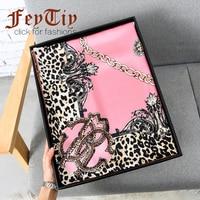 Fashion Women Scarf Luxury Brand Pink Leopard Hijab Silk 100% Shawl Scarfs Foulard Square Head Scarves Wraps 2017 NEW110x110cm