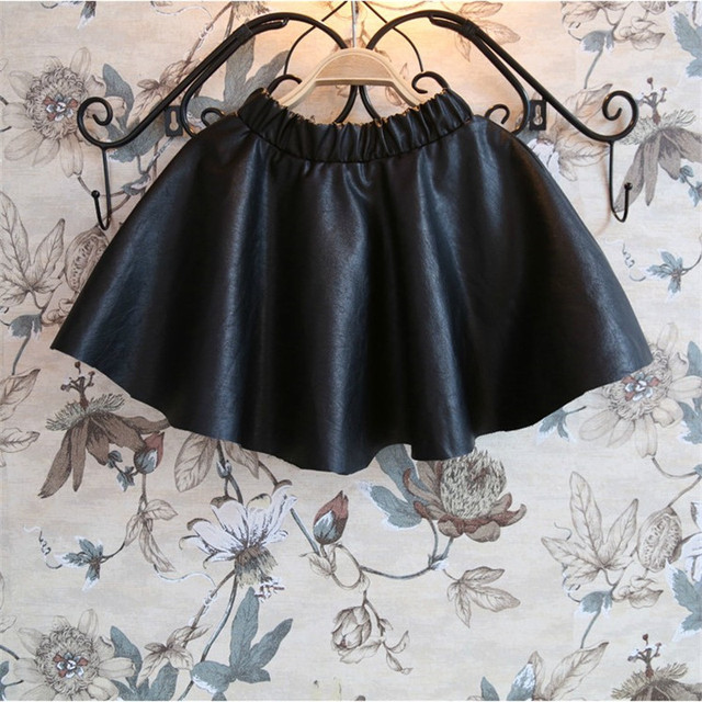 Cute 2-10T winter thicken girls tutu skirt children girl PU leather skirt skirts for kids toddler girl clothing  2017