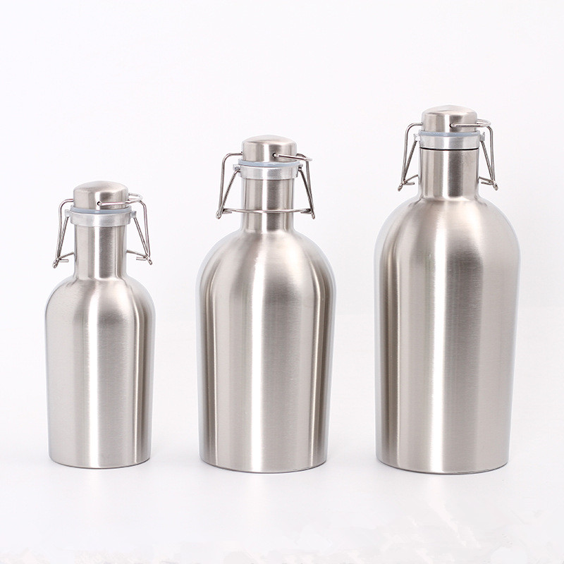 32OZ/64OZ Stainless Steel Homebrew Beer Growler Portable Beer Barrel Secure Swing Top Lid Craft Beer Bottle image
