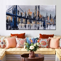 Mintura Hand Painted Abstract Golden Gate Bridge Oil Painting On Canvas Abstract Wall Art Picture Living Room Bedroom Wall Decor