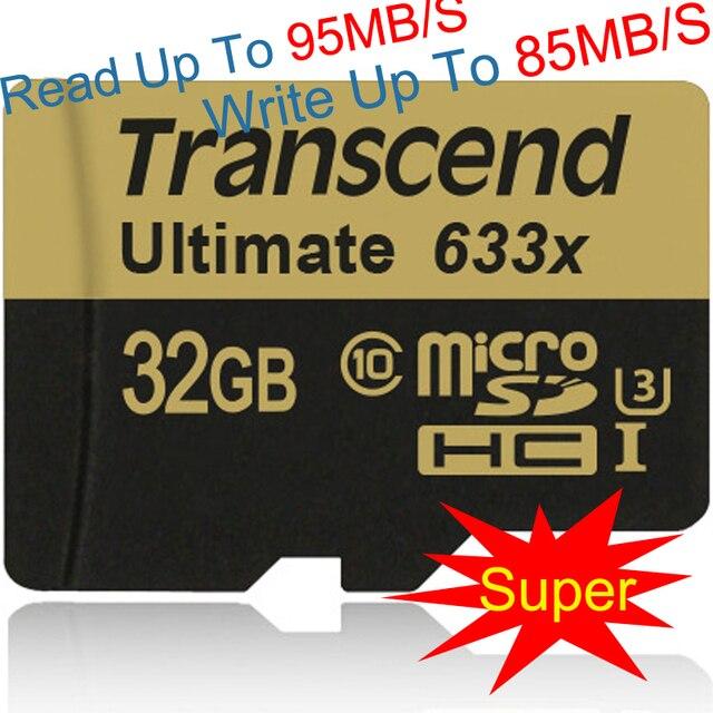 Супер скорость Подлинная емкость Transcend Micro sd card 633X32 ГБ MicroSDHC Карты 95 МБ/С. U3 Class10 UHS-I карт памяти 32 ГБ tf карты