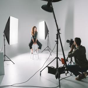 "Image 5 - ZUOCHEN 4 × 25 ワット Led 連続照明キット 20 ""× 28""/50 × 70 センチメートルソフトボックスソフトボックス写真スタジオセット電球ランプ写真ソフトボックス"