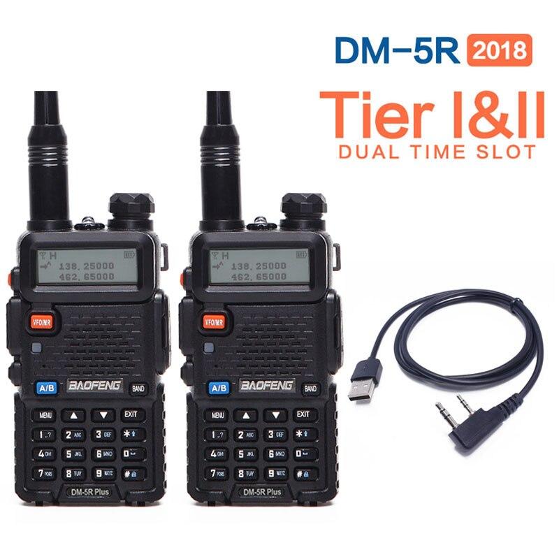 2 pcs 2018 Baofeng DM-5R PLUS Niveau I Niveau II Numérique Talkie Walkie DMR Deux-way radio Répéteur Mise À Niveau de DM 5R PLUS + Livraison câble