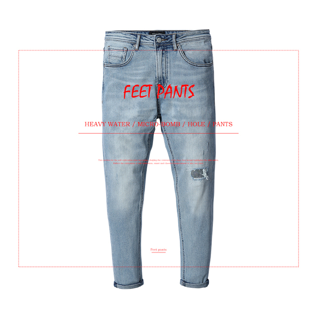 SIMWOOD 2018 Autumn New Ankle-Length Jeans Men Fashion Hole Streetwear little Stretch Slim Fit Denim Trousers 180125