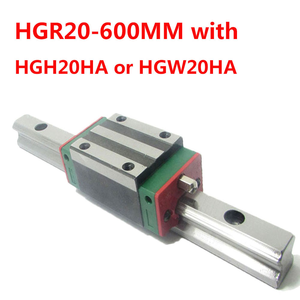 1PC HGR20 Linear Guide Width 20MM Length 600MM with 1PC HGH20HA or HGW20HA Slider for cnc xyz axis large format printer spare parts wit color mutoh lecai locor xenons block slider qeh20ca linear guide slider 1pc