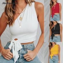 T-shirt Crop Top 2019 Solid Tees T Shirt Women Sleeveless TShirt Korean One Shoulder Fashion T-Shirt Sexy Short