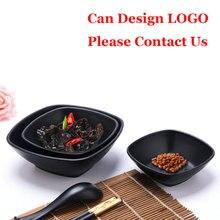 A5 Black Scrub Pepper Sauce Butter Dish Plastic Snack Korea Style Hotel Melamine Tableware Imitation Porcelain Dinnerware