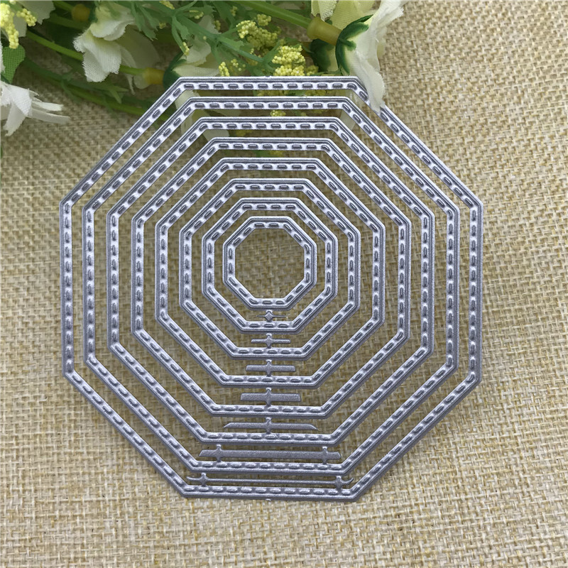 8pcs Stitched Lable Octagon Frame  Metal Cutting Dies Stencil For DIY Scrapbooking Embossing Album Paper Cards Decorative