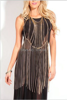 FREE SHIPPING WOMEN GOLD SILVER GRAY METAL CHAINS FULL BODY CLOTHING CHAIN JEWELRY