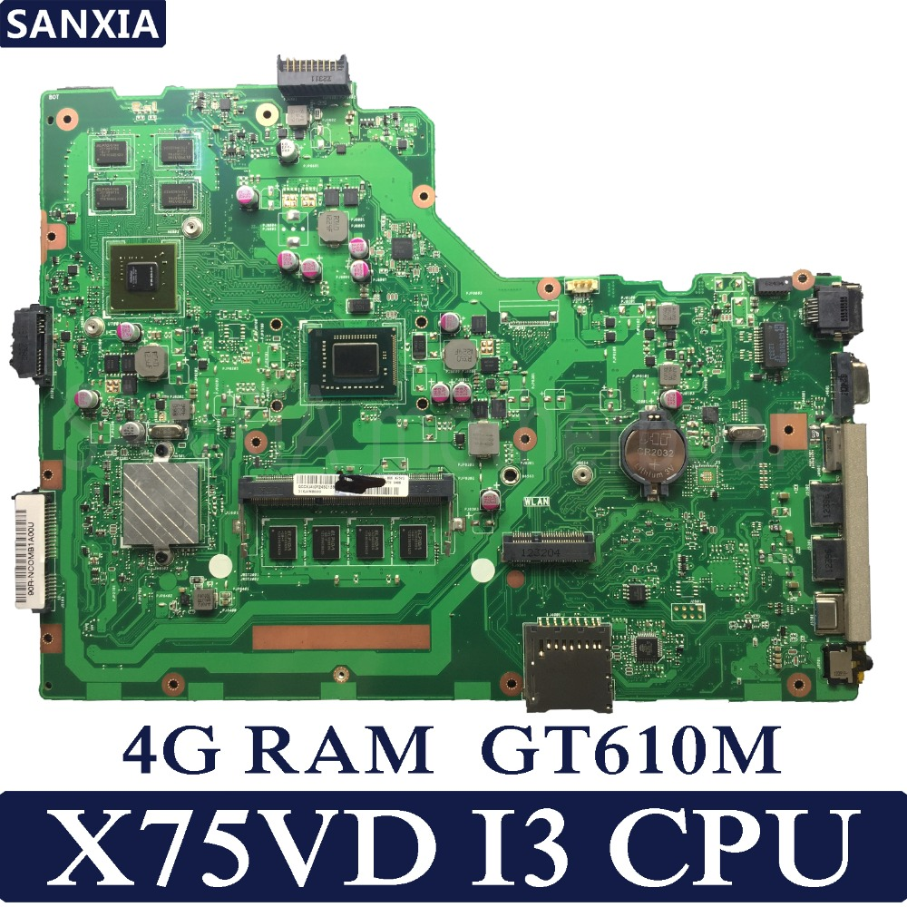 KEFU X75VD Laptop motherboard for ASUS X75VD X75VB X75VC X75A X75V X75 Test original mainboard 4G RAM GT610M I3 CPU original for asus x75vd motherboard x75vd rev3 1 mainboard processor i3 2350 gt610 1g ram 4g memory on board 100% test