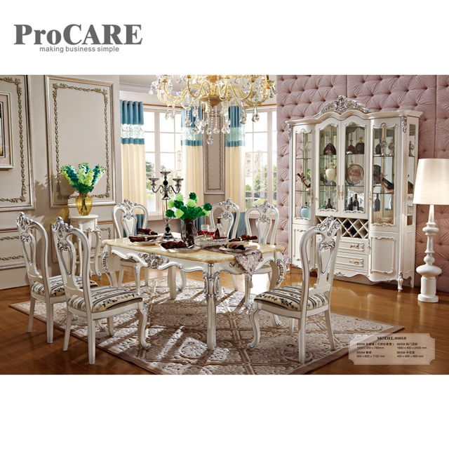 Wholesale antique furniture solid fancy oak wooden dining table and chairs  - 8005 - Wholesale Antique Furniture Solid Fancy Oak Wooden Dining Table And
