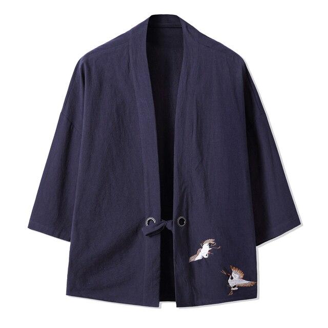 US $22.0 |Stile cinese biancheria Estate del cotone giacca kimono Giapponese Fresco Etnico cardigan cappotto Hiphop ricamo Streetwear Kimono 061402 in