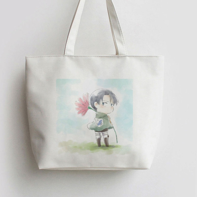 Rival Ackerman With Flower Attack on Titan Japanese Anime Canvas Tote bags Cartoon Shopping bag school AN207