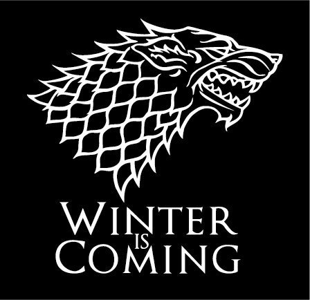 White Stark Direwolf Winter is coming Game of Thrones Die Cut Vinyl Decal Sticker Bumper For Windows Cars Trucks Laptops 6''
