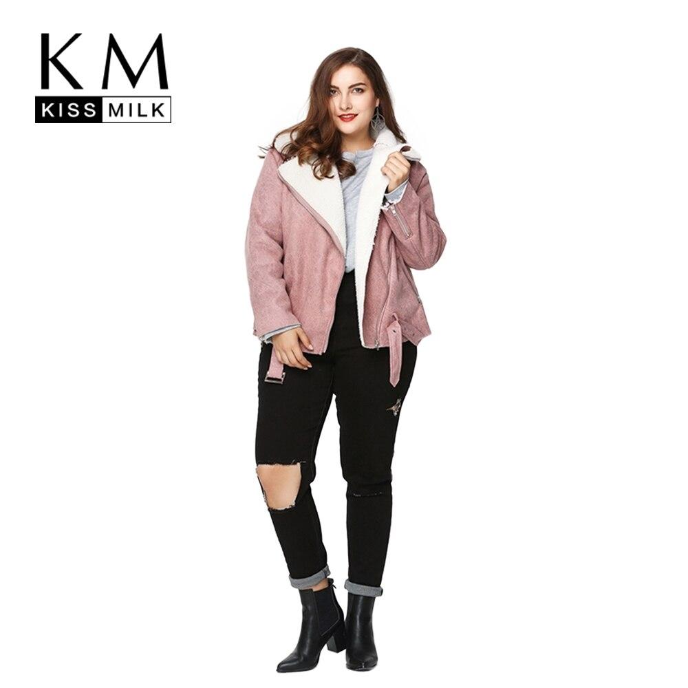 ea2ee13ca17 Kissmilk Plus Size Fashion Women Clothing Basic Warm Streetwear Outwear Long  Sleeve Thicken Big Size Moto Jacket 3XL 4XL 5XL 6XL-in Basic Jackets from  ...