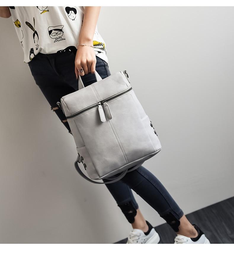 HTB1r4m6a0zvK1RkSnfoq6zMwVXam Simple Style Backpack Women Leather Backpacks For Teenage Girls School Bags Fashion Vintage Solid Black Shoulder Bag Youth XA568