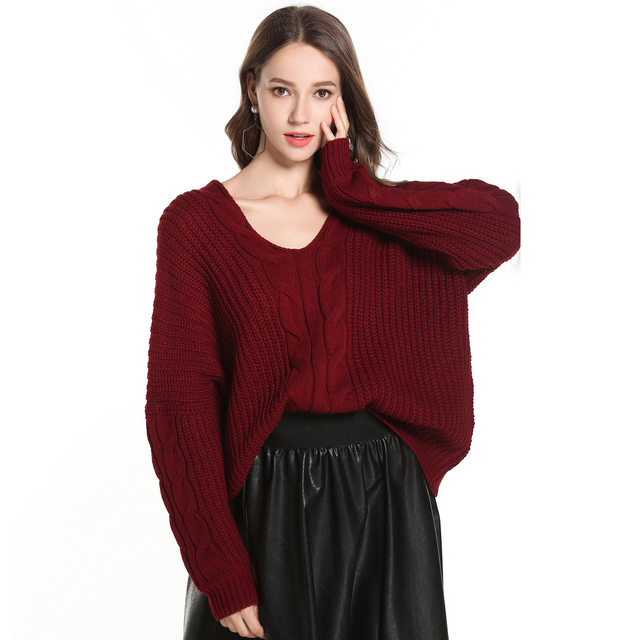 4a08043340 Jastie 2018 Autumn Winter Sweater Oversize Loose Women Sweaters Long Sleeve  V-Neck Pullover Top Thick Warm Knitted Wear Jumper