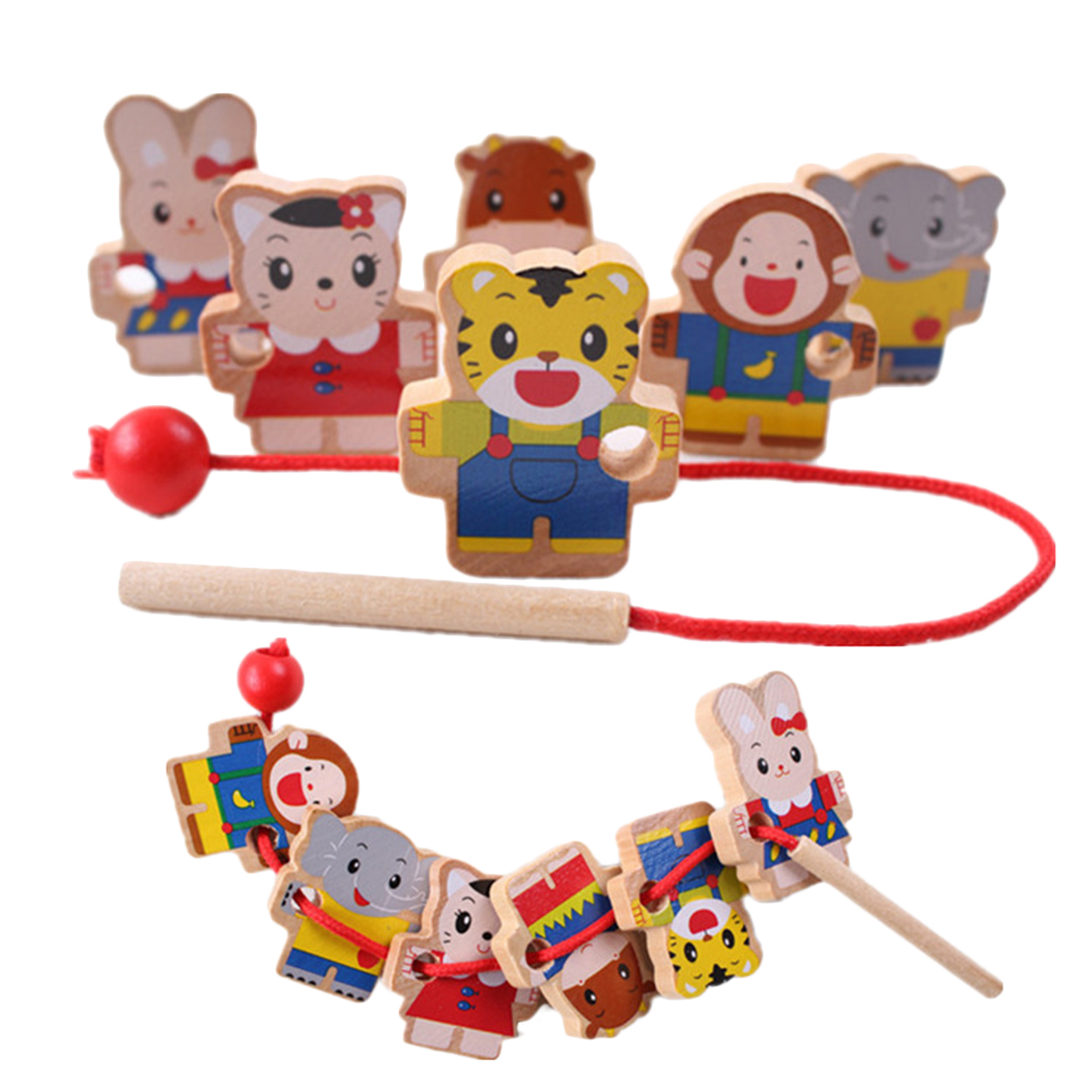 Wooden Toys Baby DIY Toy Cartoon Animal Stringing Threading Wooden Beads Toy Monterssori Educational For Baby Kids Children