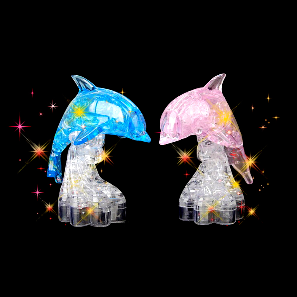 1 set Blue Pink Dolphin 3D Crystal Puzzle Building Intelligent Educational Toy Gift For Baby Children
