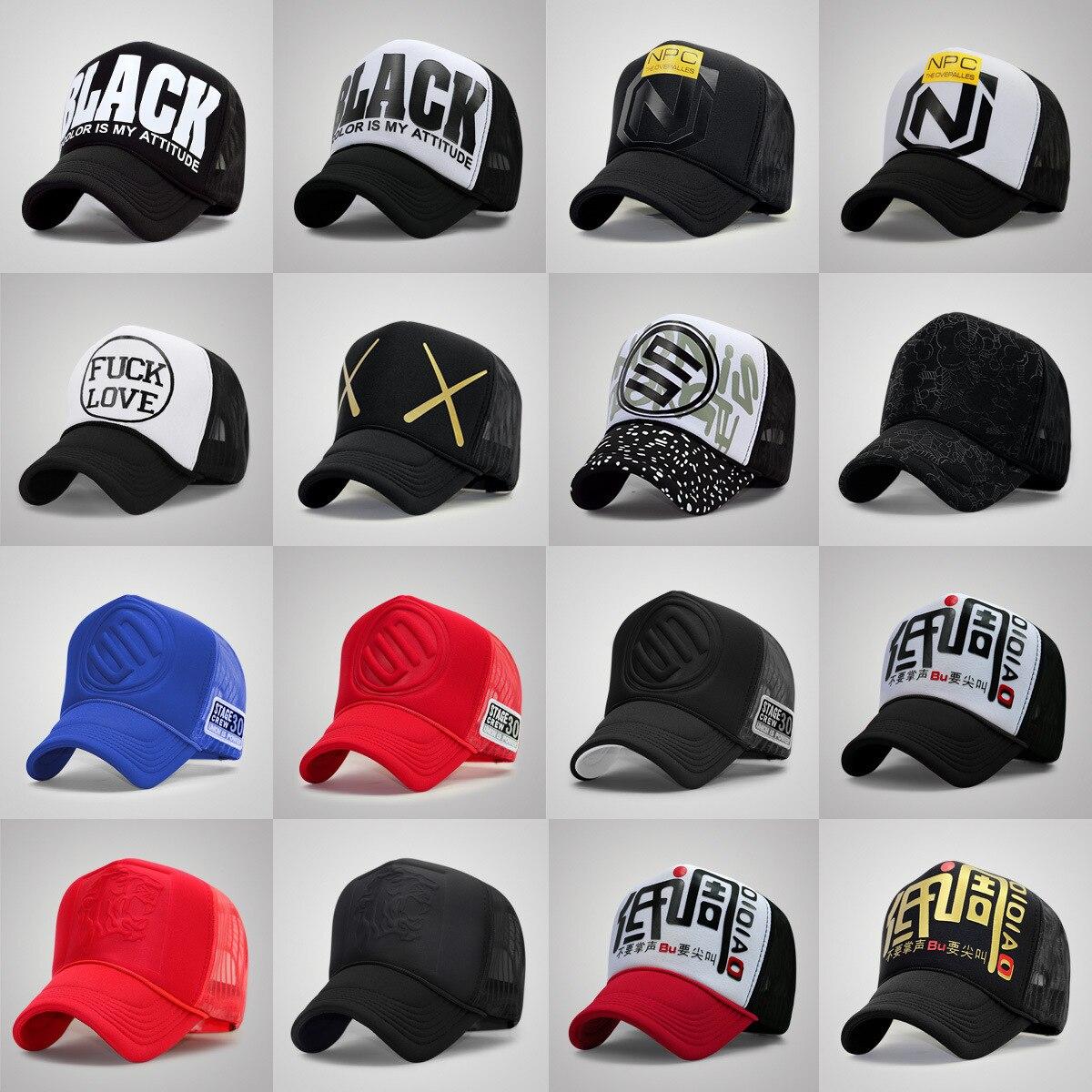 Wholesale Adult Trucker Cap Men And Women Hiphop Punk Rock Snapback Hats Male Summer Sunshade Mesh Baseball Hat 60 Colors