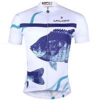 3D Fish Pattern Men White Short Sleeve Cicle Clothes Breathable Bike Apparel Crewneck Ciclismo Ropa Size S 6XL