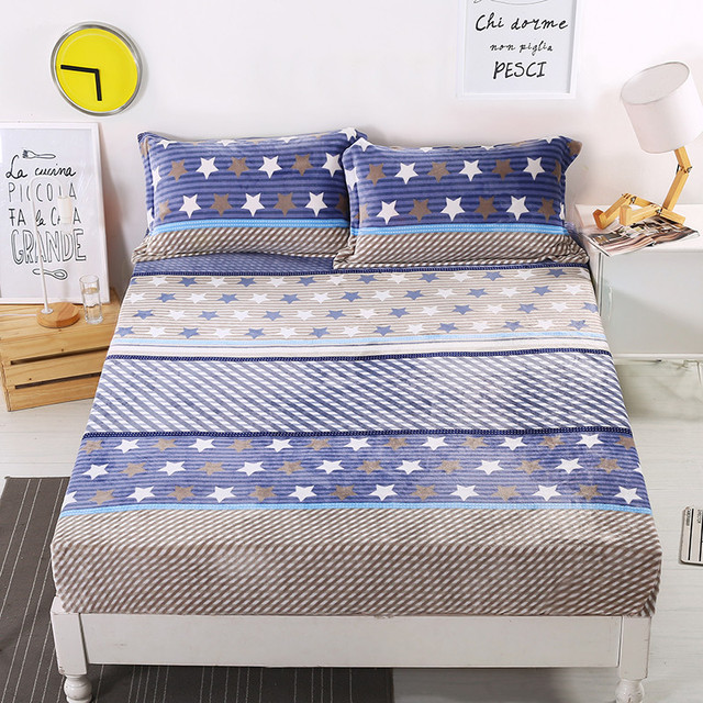 Captivating Autumn Winter 100% Polyester Mattress Cover Fitted Sheet Cartoon Stars  Printed Bed Sheets Warm Bed