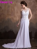 2017 Mermaid Beaded Chiffon Beach Wedding Dresses Sparkly Sleeveless See Through Court Train Bridal Gown Informal