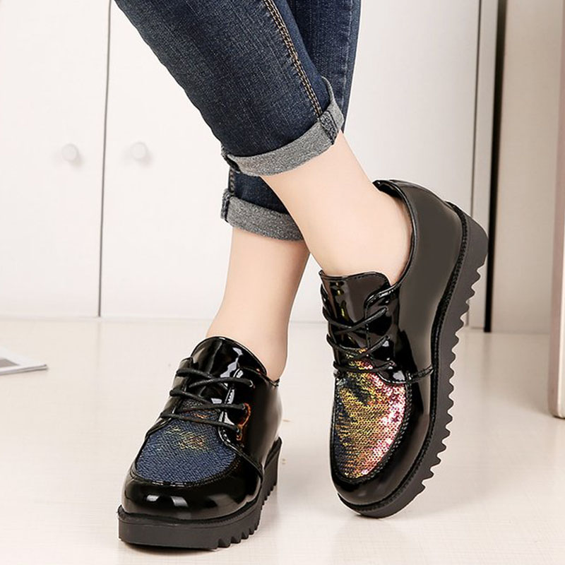 Shoes Round-Toe Bling Lace-Up Fashion Women Casual for Daily Increased Internal XWC1483