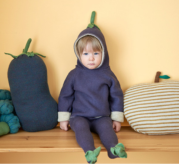 Linda de La Manera Púrpura Berenjena Estilo Bebé Embroman la Capa Con Capucha Superior