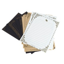 8 Sheets Vintage Retro Design Writing Stationery Paper Pad Note Letter Set
