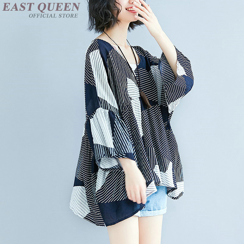 womens shirts and tops patchwork punk stripped streetwear loose full flare sleeve tops plus size chiffon t-shirts AA3717 Y a
