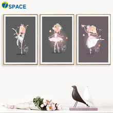 Ballet Girl Dancing princess Nursery Wall Art Canvas Painting Nordic Posters And Prints Pictures For Baby Kids Room Decor