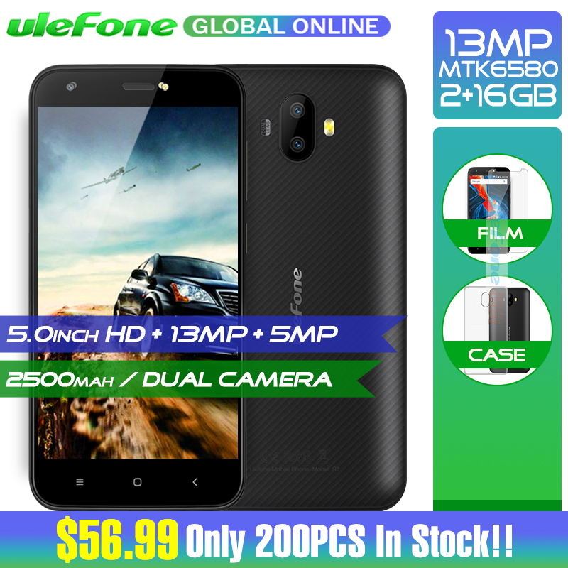 Original Ulefone S7 Pro 2GB RAM 16GB ROM 3G WCDMA MTK6580 Quad Core 5.0″ HD 13MP Dual Rear Cam GPS Android 7.0 Mobile Phone